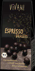Espresso beans covered with dark chocolate